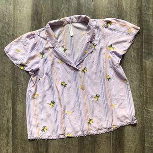Anthropologie Lavender Embroidered Lemons Top XL